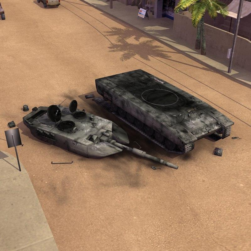 3d 3ds destroyed leopard2a5 battle tank
