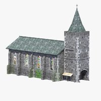 old medieval church 3d model