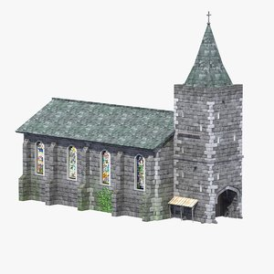 old medieval church 3d model