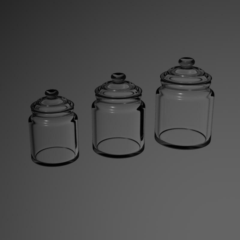 3d model glass porcelain jars