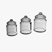 3d model glass porcelain jars