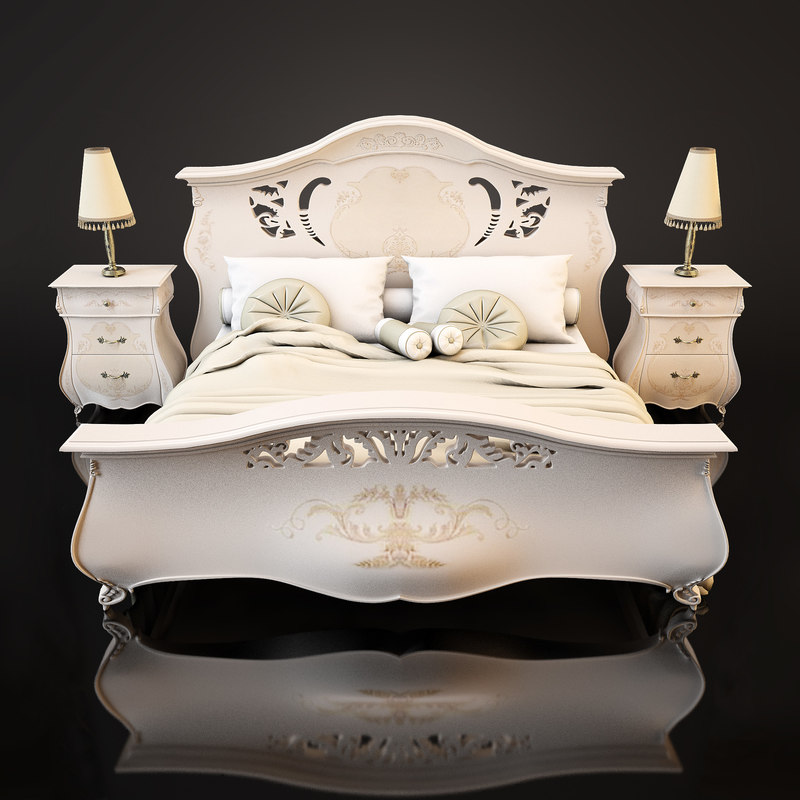 3d model of bed table lamp set