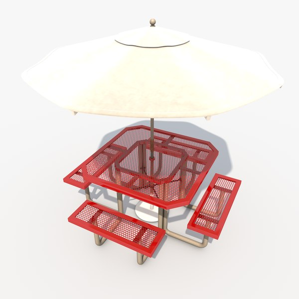 c4d patio table umbrella