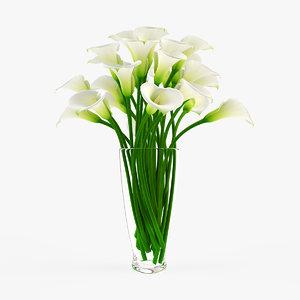 vase calla flowers 3d model