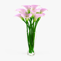 3d vase calla flowers