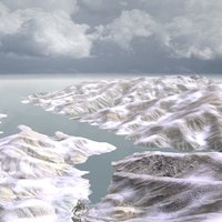 16km snowy mountain landscape 3d model