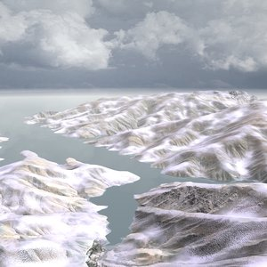 16km snowy mountain landscape 3d model