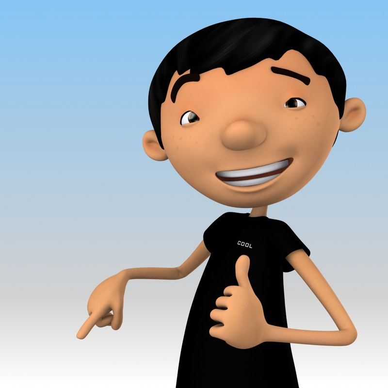 rigged cartoon cool guy 3d model
