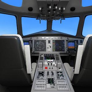 3d model aircraft cockpit scene