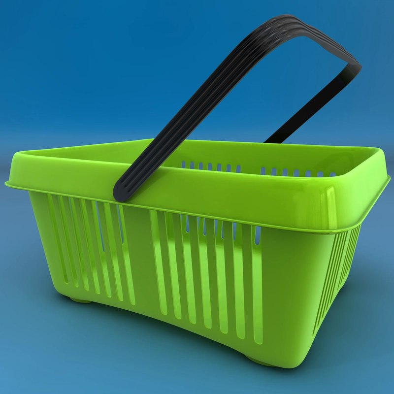 realistic shopping basket c4d