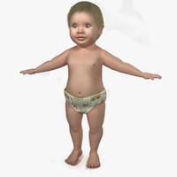 baby child girl 3d model