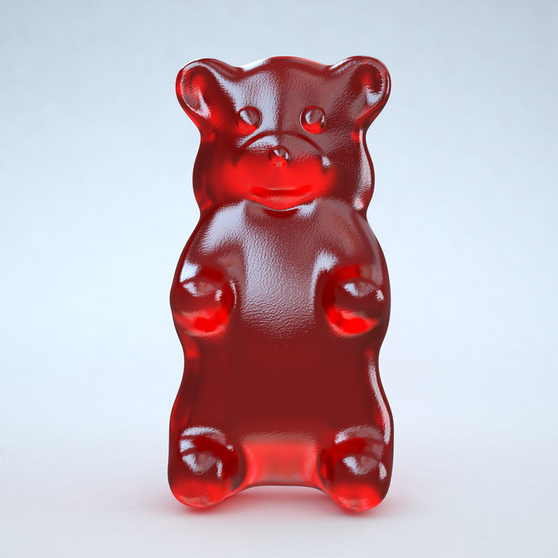 3d red gummy bear