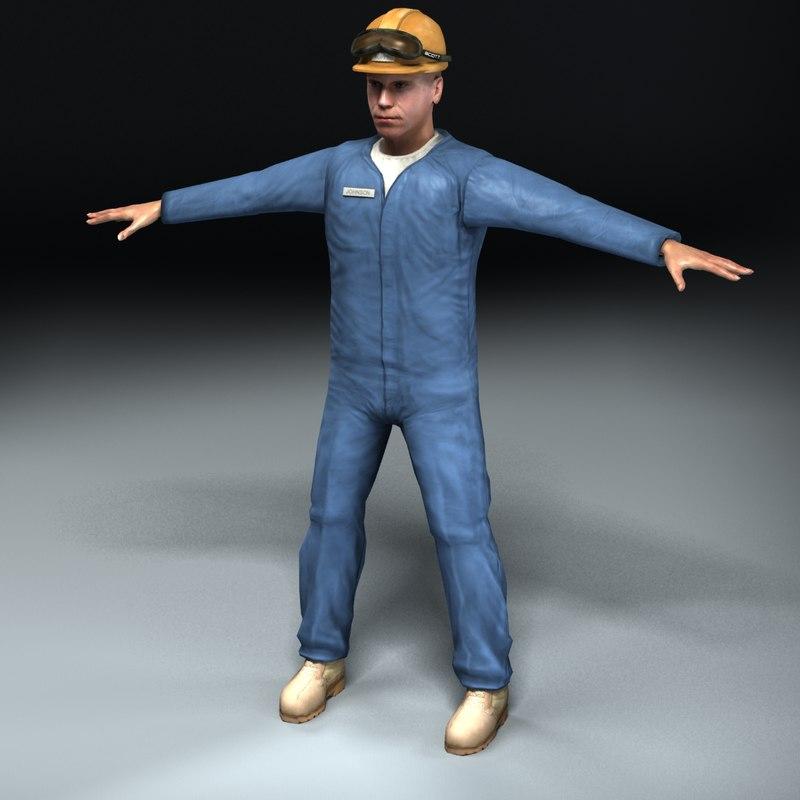 3d 3ds construction worker