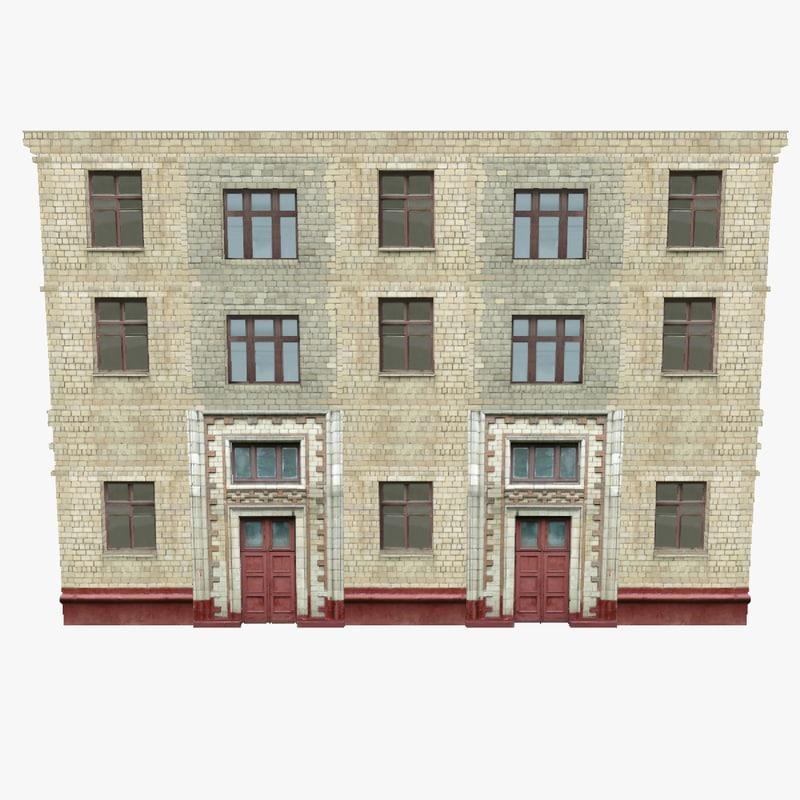 old brick building walls 3d 3ds