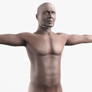 realistic african male character body 3d model