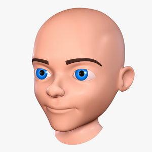 3d cartoon boy - head model