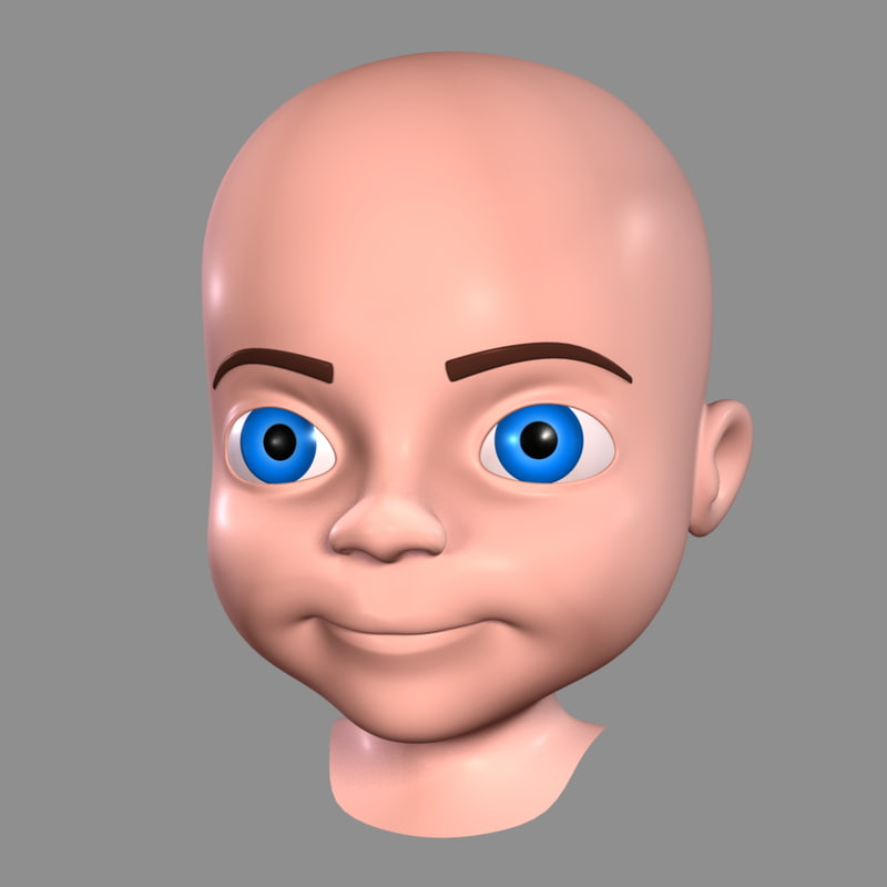 cartoon boy - head 3d model