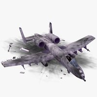 crashed a10 thunderbolt aircraft 3d model