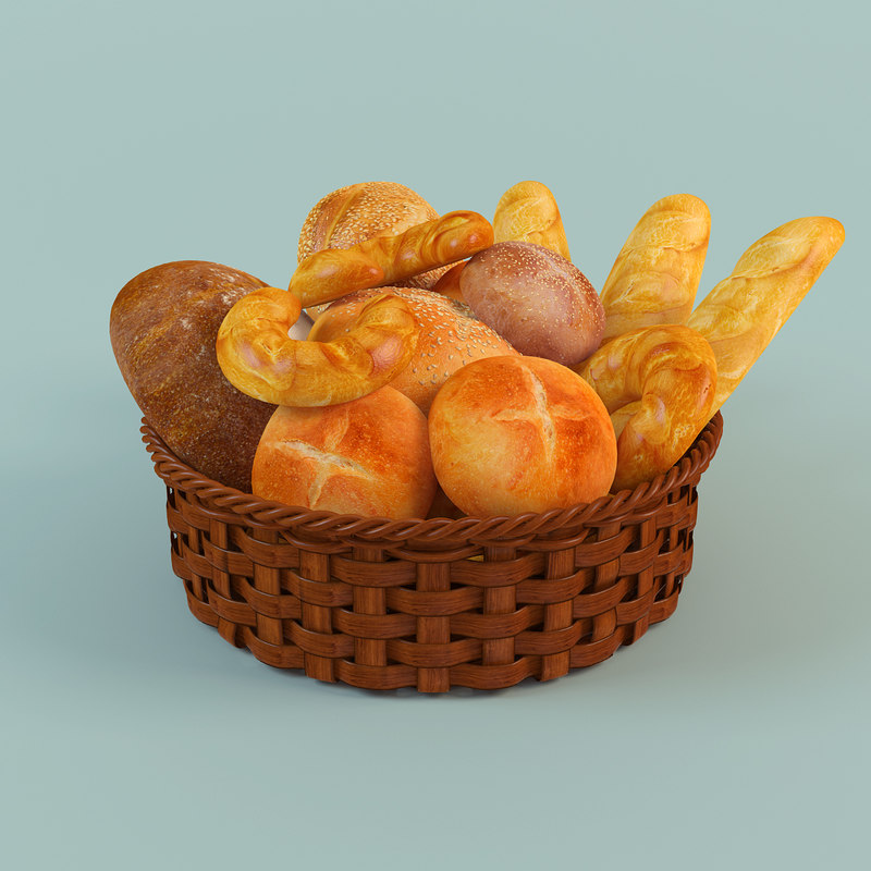 3d model basket bread
