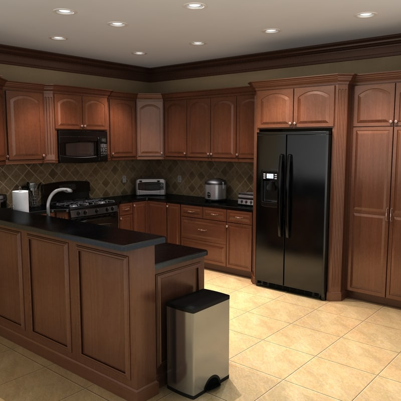 3ds max kitchen scene set for Full set kitchen