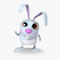 Rigged Cartoon Bunny 01 Blue