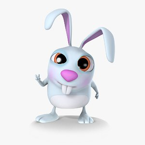 3d max cartoon bunny rigged biped