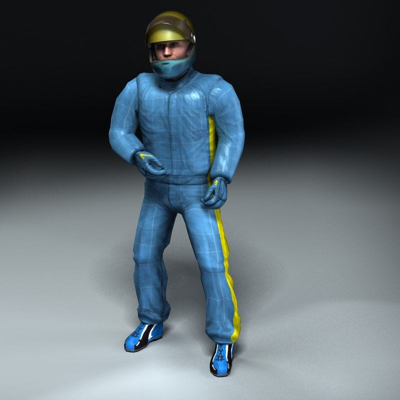 3d rigged racing driver model