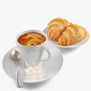croissant coffee 3d model