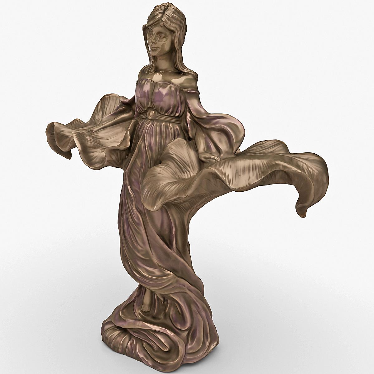 3d model of statuette woman
