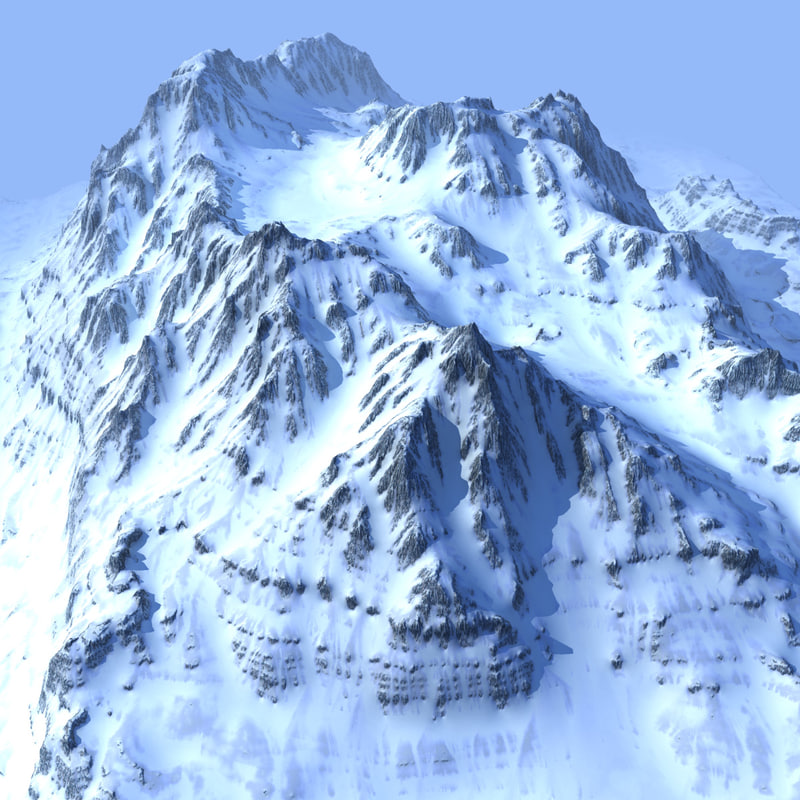 3d model snowy mountain