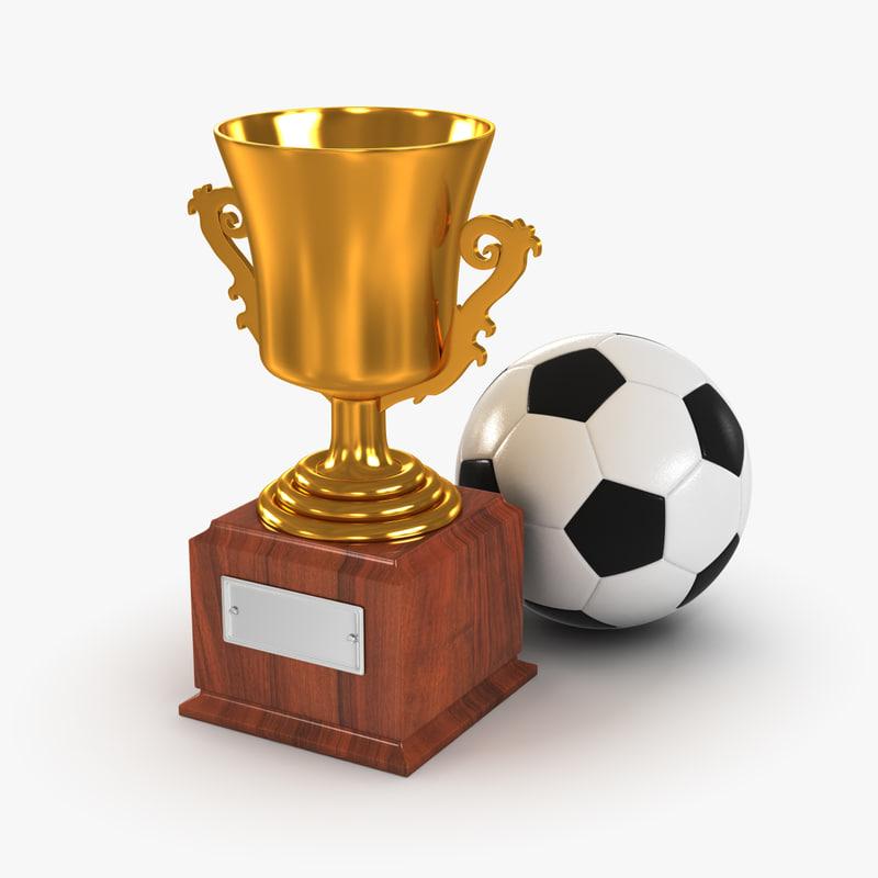 gold cup soccer ball 3d model