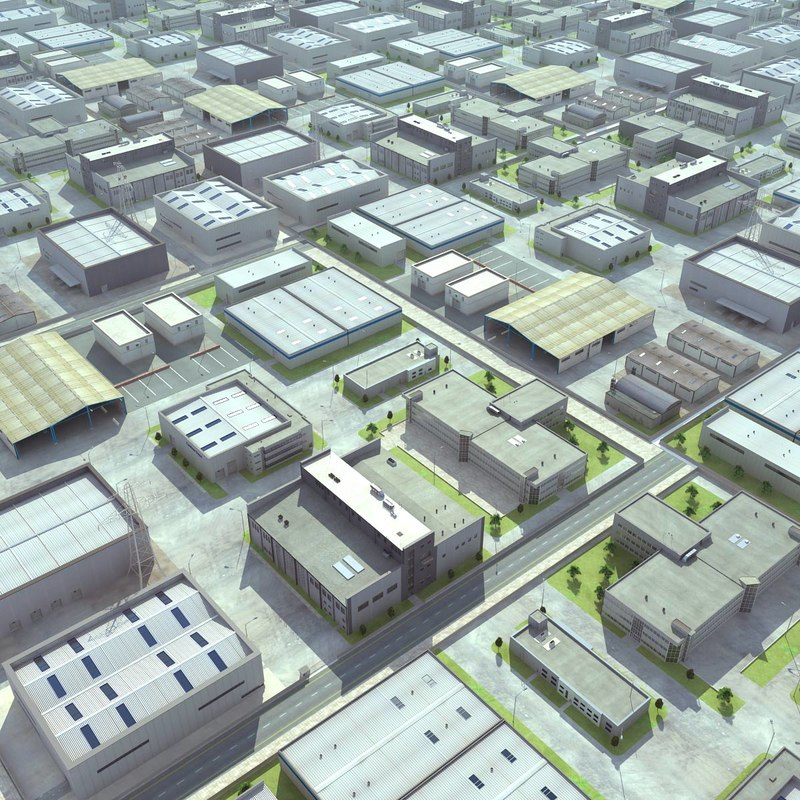 industrial plant warehouses cityscapes max