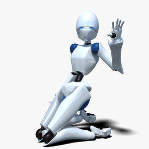 robotic character rigged obj