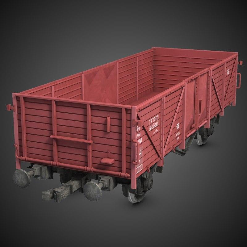 3d cargo train wagon model