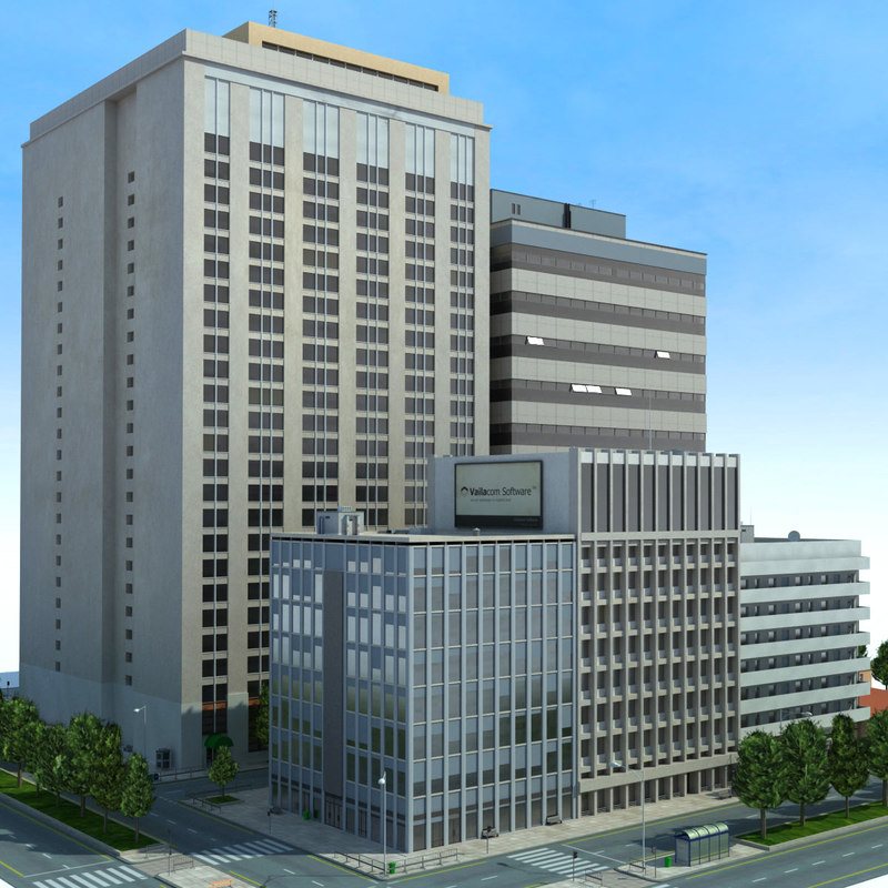 city cityscape block 3d max