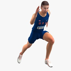 rigged olympic athlete 3d max