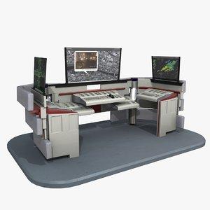 3d futuristic control desk model