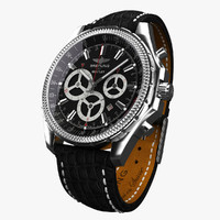 Breitling Barnato Black Leather-virtual 3d model