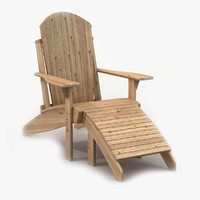 3d wooden adirondack deck chair