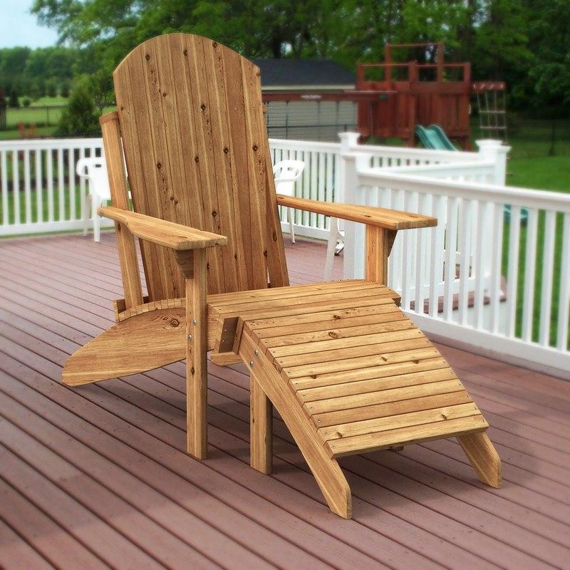 3d wooden adirondack deck chair