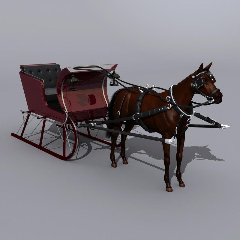 3d horse sled model
