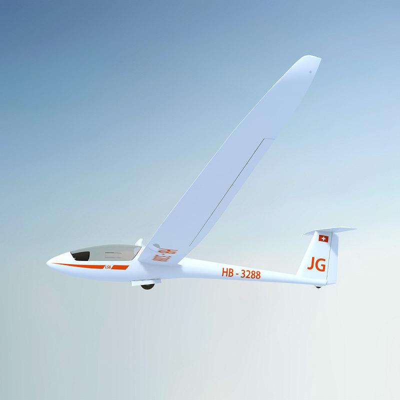 rolladen-schneider ls8 glider 3d model