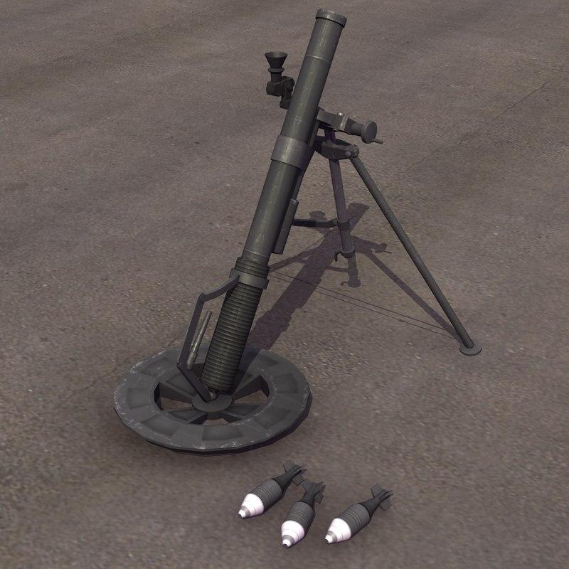 3d model m224 60mm mortar