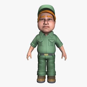male mechanic 3d max