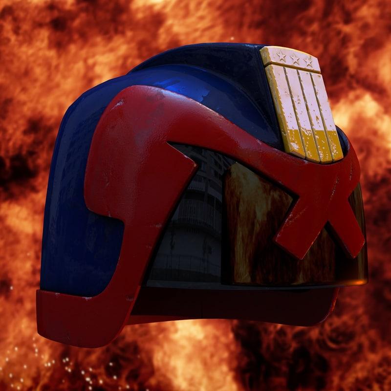 helmet judge dredd 3d c4d