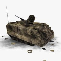battle damaged m113 apc 3d model