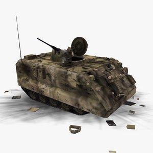 battle damaged m113 apc 3d model