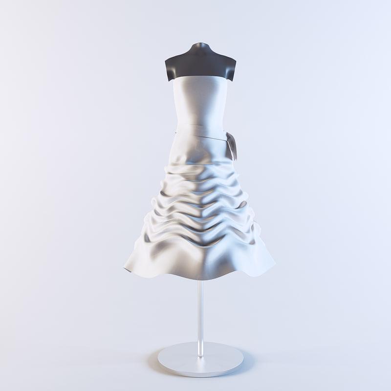 3d model wedding dress 02 mannequin