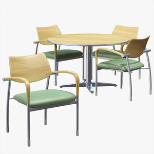 3d office table chairs