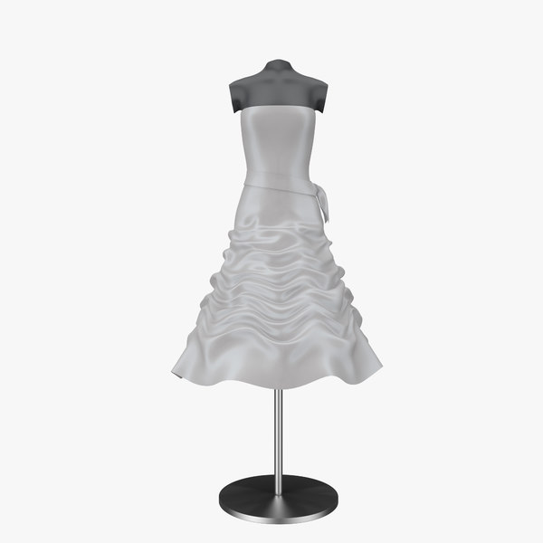 3d model wedding dress 02 mannequin